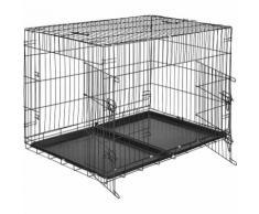 Cage Caisse Box de Transport pour Chien en Acier Pliable 106 cm x 70 cm x 76 cm Noir