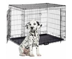Cage pour Chien Pliante Boîte Transport Voiture Box pour Chiot 2 Portes Bac Fond Box Grillage