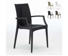 Chaises de jardin fauteuil accoudoirs bar café restaurants en Poly rattan BISTRO ARM Grand Soleil |