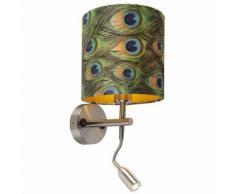 QAZQA Moderne Applique murale moderne en acier avec lampe de lecture et abat-jour velours paon et