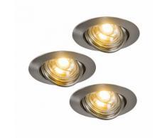QAZQA Moderne Spot à encastrer / encastrables LED 3 EDO inclinable acier Métal Acier Rond /
