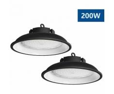 2×Anten Top 200W UFO Projecteur LED Lampe Industrielle Suspension IP65 Phare de Travail 13000LM