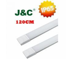 Reglette plafonnier tube LED 120cm 36W IP65 étanche Blanc Neutre 4000K - Lot de 2