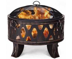 Brasero Exterieur Grill Brasero Barbecue 65 cm de Diamètre avec Grille Pare-Etincelles Bol en Acier