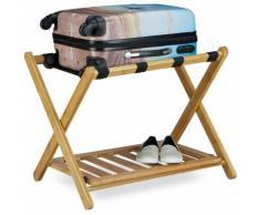 Porte-bagage pose valise pratique HxlxP: 53 x 68 x 53 cm support de bagage en bois de bambou avec