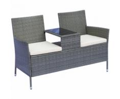 Banc de jardin design contemporain 133L x 63l x 84H cm banc double chaise avec coussins assise +