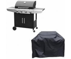 Barbecue au gaz KENTUCKY - 4 brûleurs avec thermomètre + housse