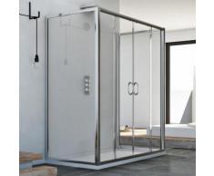 Cabine douche à trois côtés 75x150x75 CM H185 trasparent modèle Replay Trio avec 2 portillons