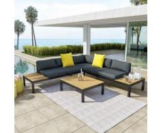 Salon d'angle de jardin design aluminium couleur Gris Noir - MILANO