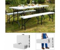 Ensemble Table bancs camping pliable - table buffet banc pliant jardin 180cm