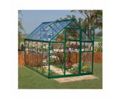 Serre de jardin en polycarbonate Harmony 5,66 m², Couleur Vert, Ancrage au sol Oui - longueur : 3m06
