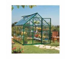Serre de jardin en polycarbonate Hybrid 5,66 m², Couleur Argent, Ancrage au sol Non - longueur :