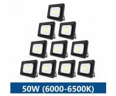 Projecteur LED 50W étanche IP65 Blanc Froid 6000K couleur noir Ultra-Mince Léger Puissant usage