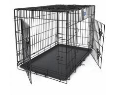 FEANDREA 2 Portes Cage pour chien pliable et transportable avec Poignées et Plateau 91 x 58 x 64cm