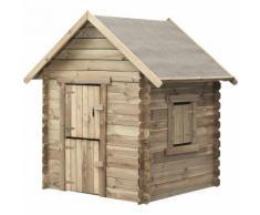 Aire de jeux maisonnette Swing King en bois traite , cabane, avec porte en 2 parties, fenetre avec