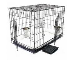 Cage Box de transport Pliable Set complet pour Chien et Chat Caisse mobile XL 122x76x84cm Kit