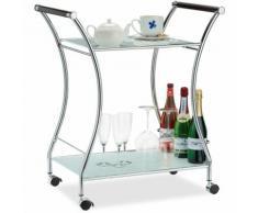 Chariot Service Range-Bouteilles, Table Roulante Opale, 2 Niveaux, Desserte Cuisine 79,5 x 68 x 42
