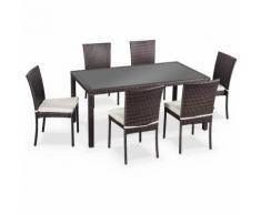Salon de jardin en résine tressée 6 chaises, Chocolat, table d'extérieur design