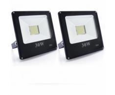 2×30W Projecteur LED Ultra-Mince Spot Lumière Puissante 2700LM Floodlight LED Éclairage Extérieur