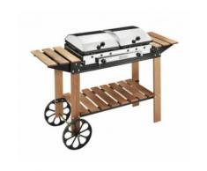 Barbecue portable 2 plaques fonte fonte gaz inox bois 49