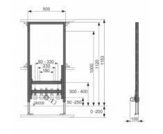 Module bidet TECEprofil BH 1120 mm pour bidet suspendu 9330000