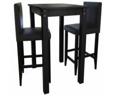 Table bar / mange debout + 2 tabourets noir MJ160726