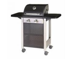 Barbecue à gaz 2 brûleurs mobile 4 roues - L 52 x l 116 x H 110