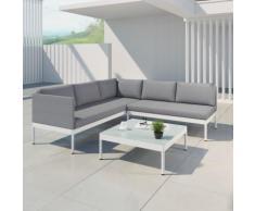 JUN - Ensemble salon de jardin raffiné en aluminium et résine tressée - gris/blanc
