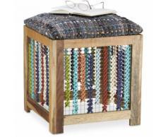 Tabouret en bois ethnique assise colorée fait main pouf repose-pieds HxlxP: 47 x 41 x 42 cm,