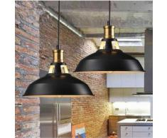 Lot de 2 Suspension Vintage Industrielle Lampe de Plafonniers LED Retro Metal Lustre avec Abat-jour