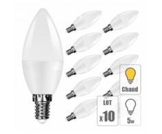 Lot 10 ampoule led E14 5W bougie blanc chaud