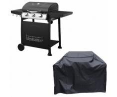 Barbecue au gaz ARKANSAS - 3 brûleurs avec thermomètre + housse