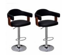 2 tabourets de bar en bois cintré avec dossier et accoudoirs MAJA+ MJ241690