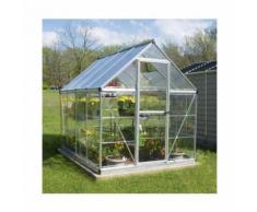 Serre de jardin en polycarbonate Hybrid 4,57 m², Couleur Argent, Ancrage au sol Non - longueur :