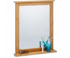Miroir mural avec cadre en bambou pour salle de bain salon surface rangement, nature