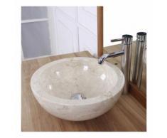 Vasque boule en pierre de marbre blanc