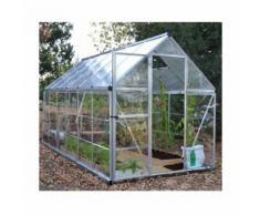 Serre de jardin en polycarbonate Hybrid 6,84 m², Couleur Argent, Ancrage au sol Oui - longueur :