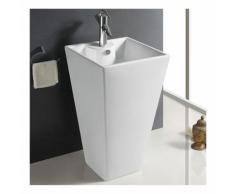 Lavabo Totem Carré - Céramique Blanc - 48x82 cm - Line