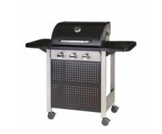 Barbecue à gaz 3 brûleurs mobile 4 roues - L 52 x l 126 x H 110