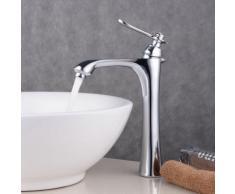 Grand mitigeur inox chromé argenté épuré et moderne pour vasque et lavabo