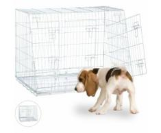 Cage de Transport pour Chien, Box Pliant pour Chiots, Double, Cloison, 3 Portes, Voiture, L,