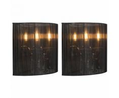 QAZQA Classique/Antique Set de 2 Applique Murales Ann-Kathrin 2 chrome abat-jour noir verre