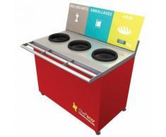 table de tri 3 collecteurs 1 pesée t enfant h. 760 mm rouge,
