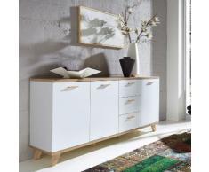 Buffet en bois blanc (chêne) scandinave avec 3 portes et 3 tiroirs OSLO