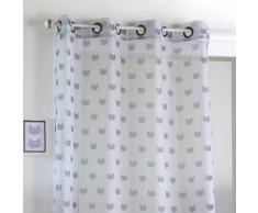 Rideau voilage en polyester gris à motif chat 140x260cm MIAOU