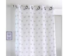 Rideau voilage en polyester taupe à motif chat 140x260cm MIAOU