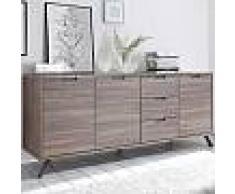 Enfilade 2 portes 3 tiroirs moderne couleur chêne PLUME 2