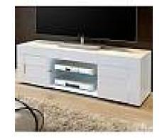 Meuble TV blanc laqué brillant design NEWLAND