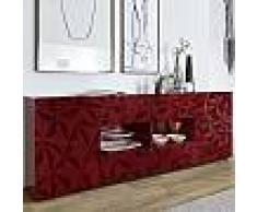 Enfilade design rouge laqué 2 portes 4 tiroirs NINO 3