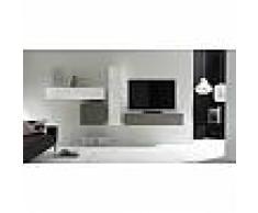 Ensemble meuble TV gris mat laqué et blanc brillant design SONIA